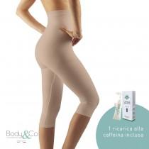 Pantaloncino lungo modellante e massaggiante con 1 fiala 10ml alla caffeina