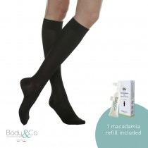 280 Denier Firm Support Knee High Socks 22-27 MmHg with 1 macadamia oil refill included