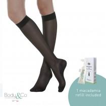 70 Denier Light Support Knee High Socks 12-17 MmHg with 1 macadamia oil refill included